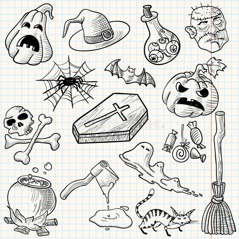 halloween set vektor illustrationer
