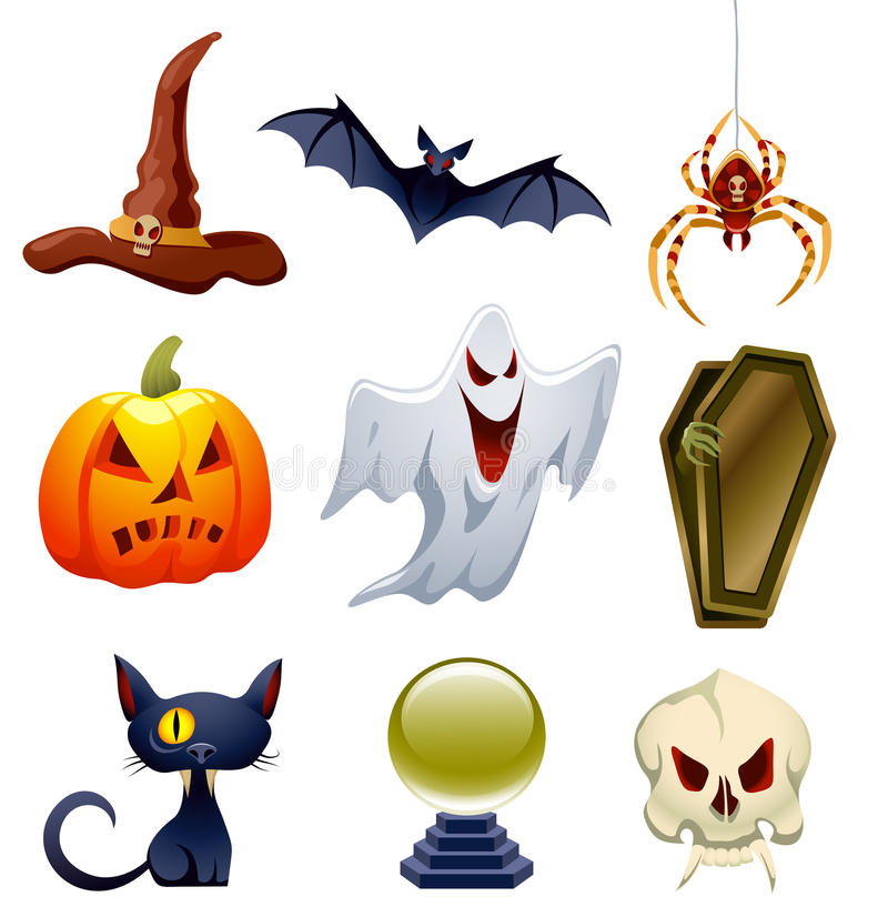 Halloween Set. Vector collection of Halloween-related objects and creatures