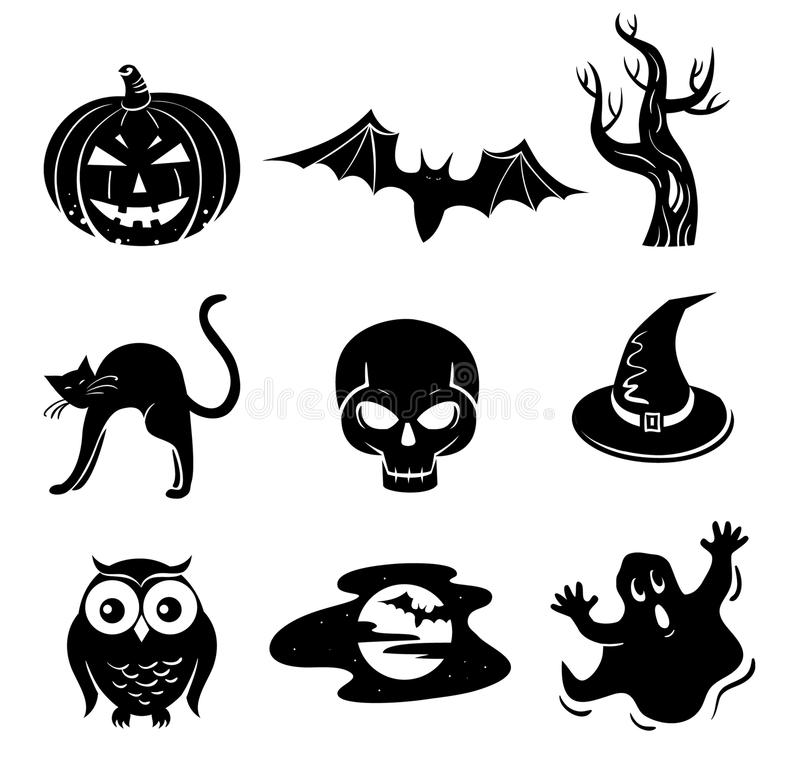 Download Halloween set stock vector. Image of basic, ghost, silhouette - 27553321
