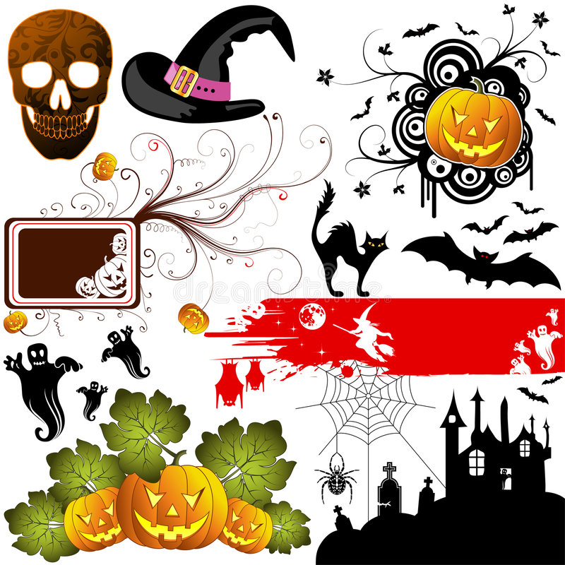 Halloween set. Big Halloween collection with bat, pumpkin, witch, ghost, element for design, vector illustration