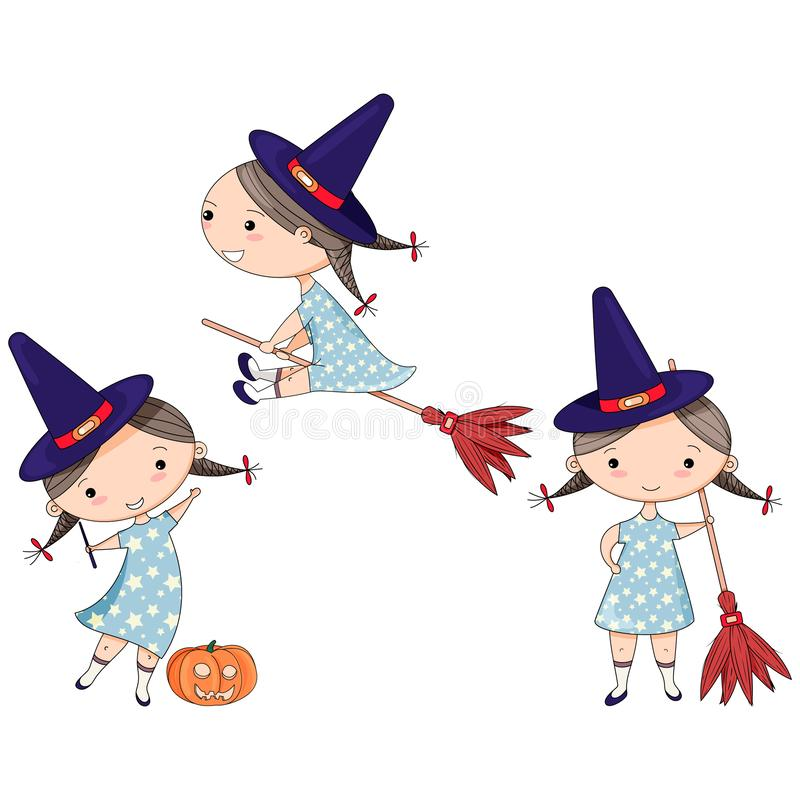 Halloween set with cute witches with hat and the broom royalty free illustration
