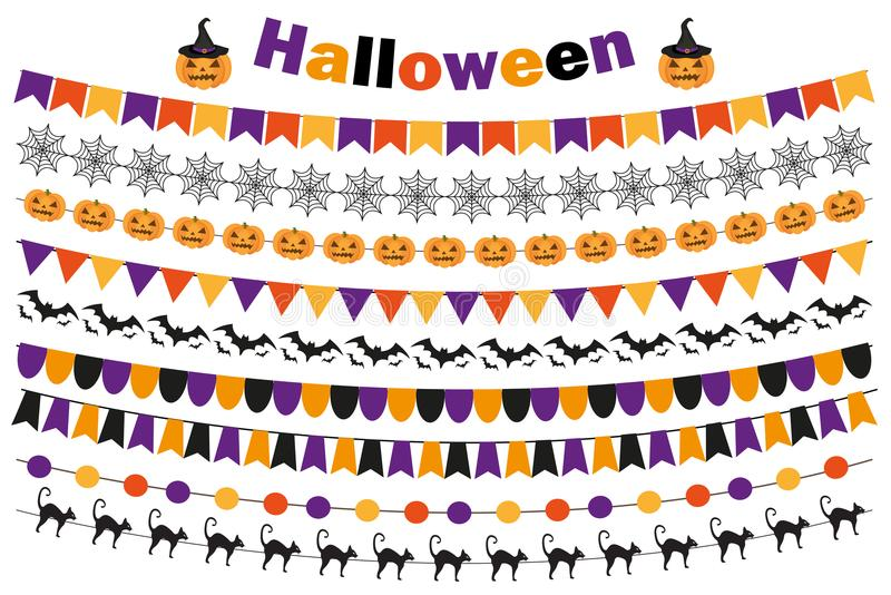 Halloween set of festive decorations flags, bunting, garland. Collection of elements for your design. on white stock illustration