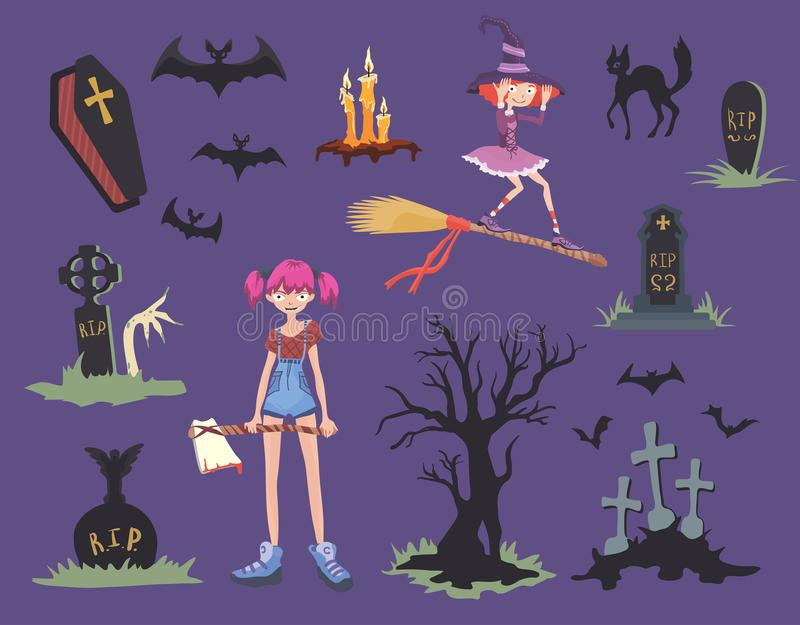 Halloween set. Girl with axe, black cat, witch on a broom, gravestones and other Halloween symbols. Vector illustration. royalty free illustration