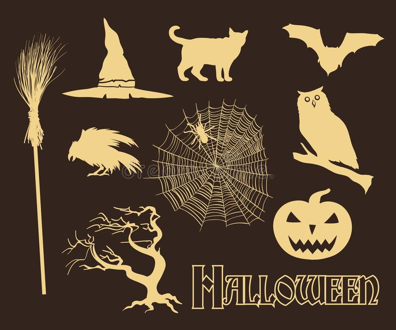 Halloween. Set of hand drawn icons vector royalty free illustration