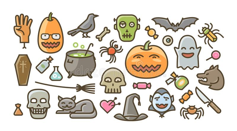 Halloween set of icons. Holiday symbol. Cartoon vector illustration royalty free illustration