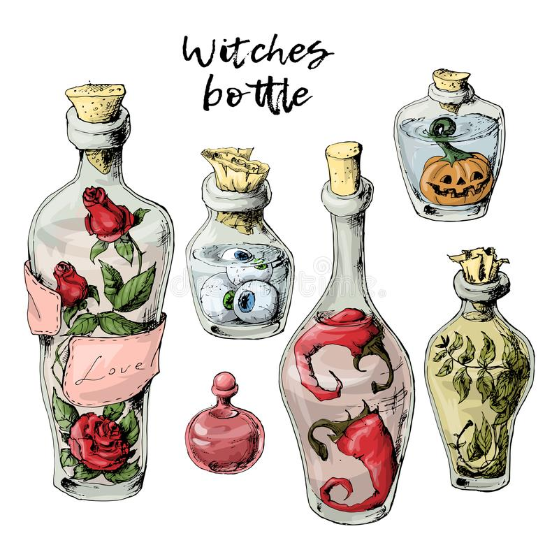 Free Halloween Set Of Withered Bottles With A Potion And Trophies. Stock Photos - 117967763