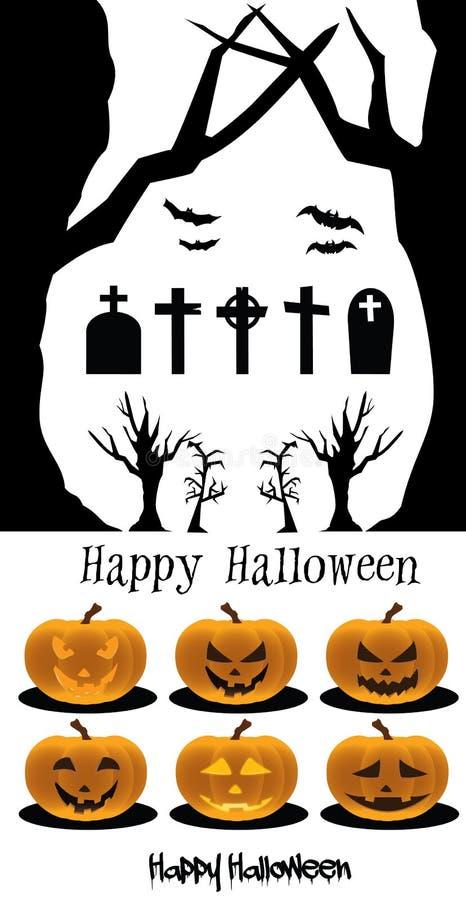 Halloween set Pumpkins Cemetery stock photo