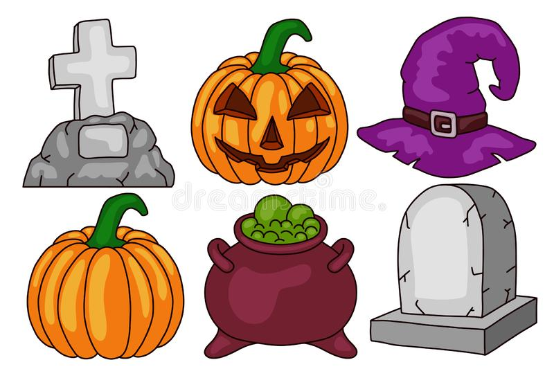 Halloween set. Scary pumpkin, cauldron and witch hat, gravestone. Isolated on white background. Design element. vector illustration