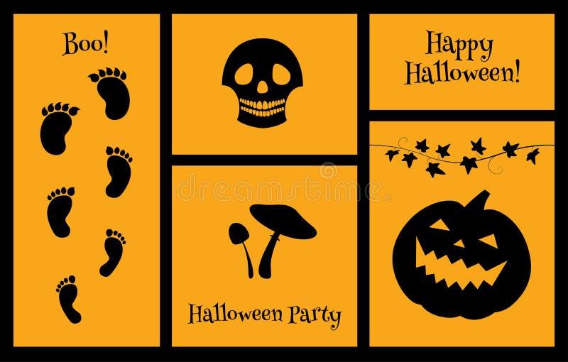 Halloween set of silhouettes skull stock illustration