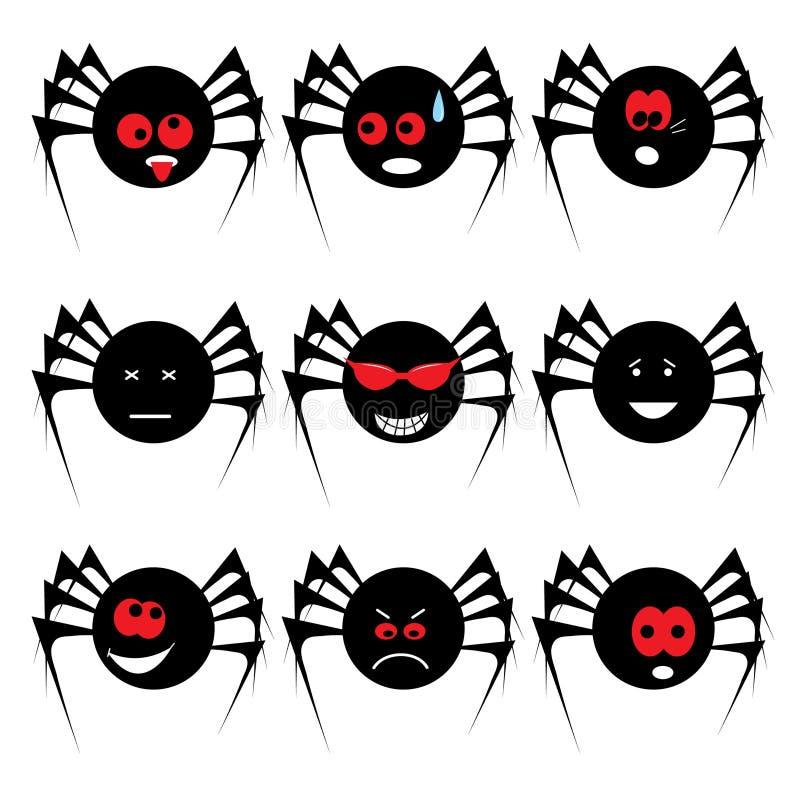 halloween set spindel vektor illustrationer