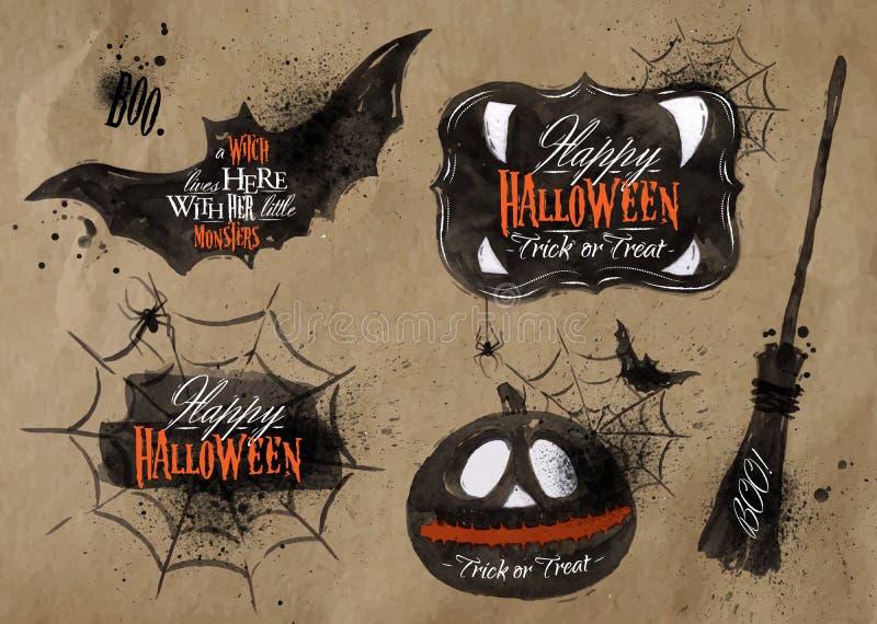 Halloween set symbols lettering kraft royalty free illustration