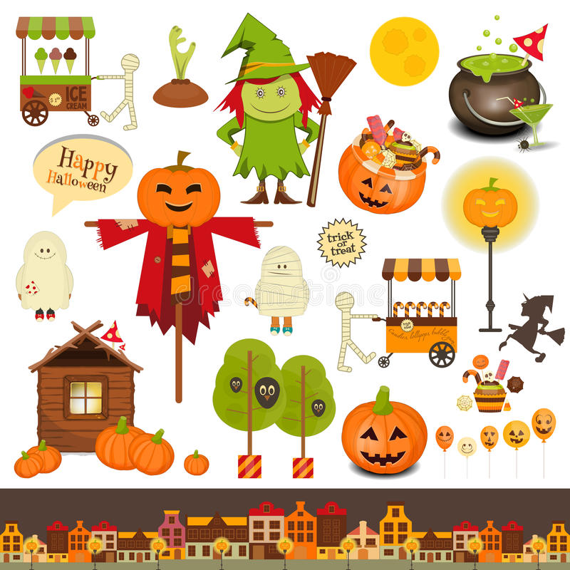 Halloween Set of Trick or Treat Objects. On White Background. Vector Illustration vector illustration