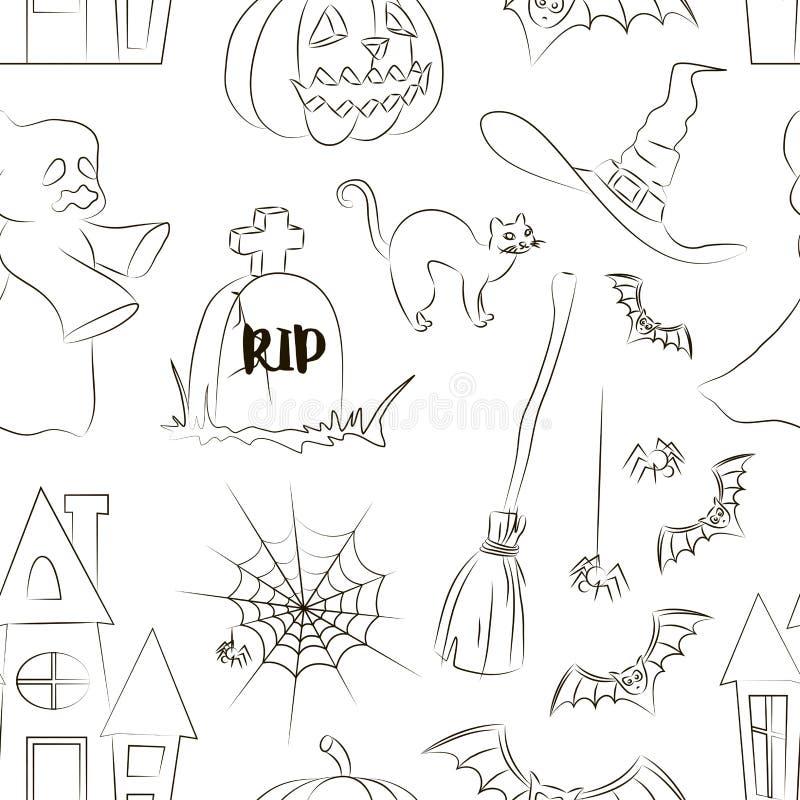 Halloween setu wzór royalty ilustracja