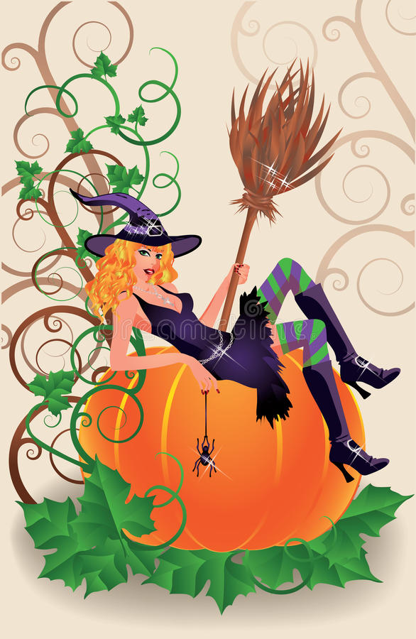 Halloween Sexual Witch And Pumpkin Stock Images