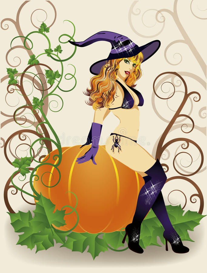 Halloween witch with spider and pumpkin vector illustration