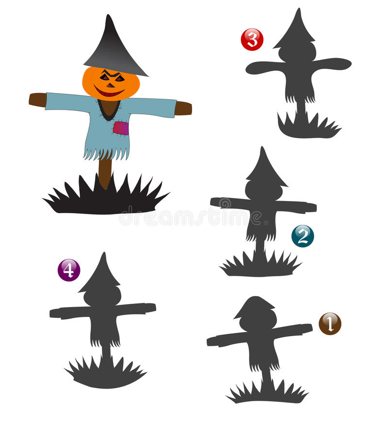 Halloween shape game: the scarecrow royalty free stock images