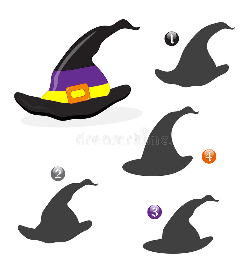 Halloween shape game: the witch hat stock images