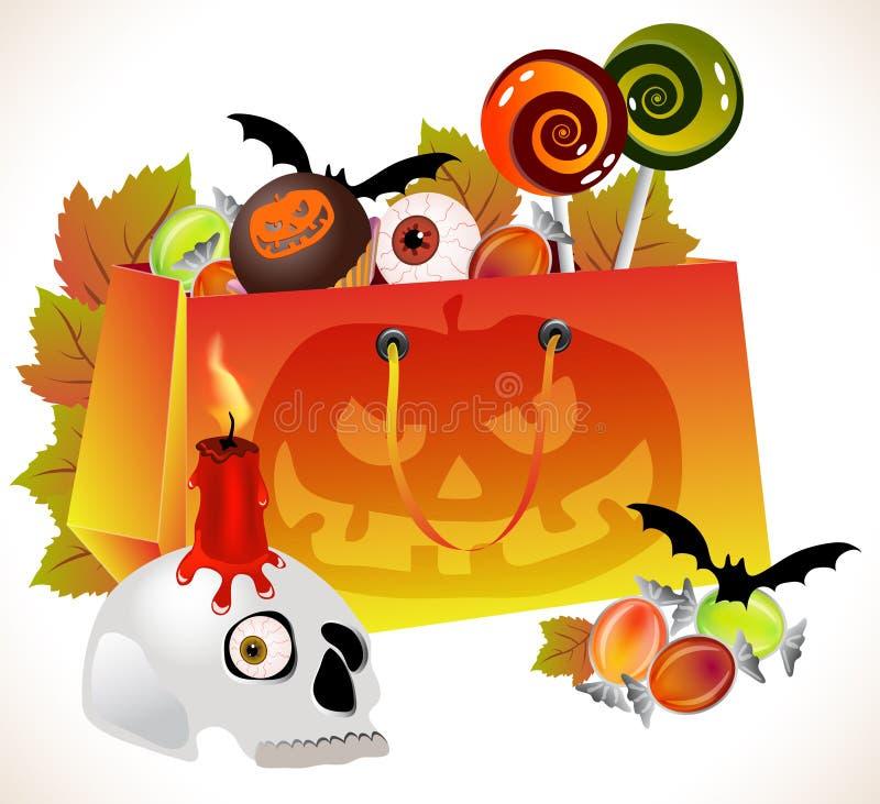 Halloween shoppingpåse med den läskiga framsidan och sötsaker stock illustrationer
