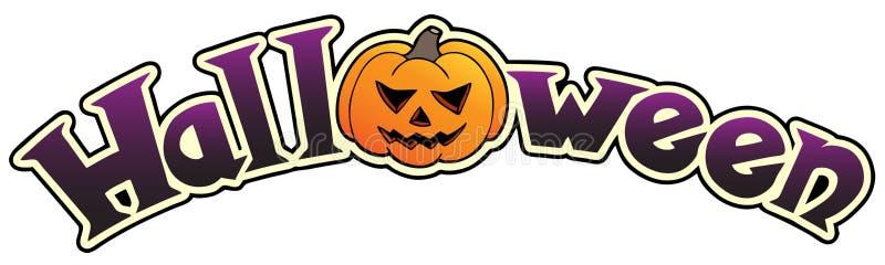 Halloween sign with big pumpkin stock photography