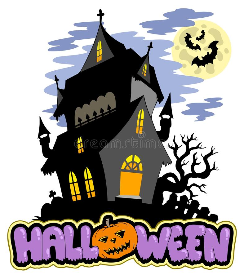 Download Halloween Sign With Haunted Mansion Stock Vector - Image: 15634619