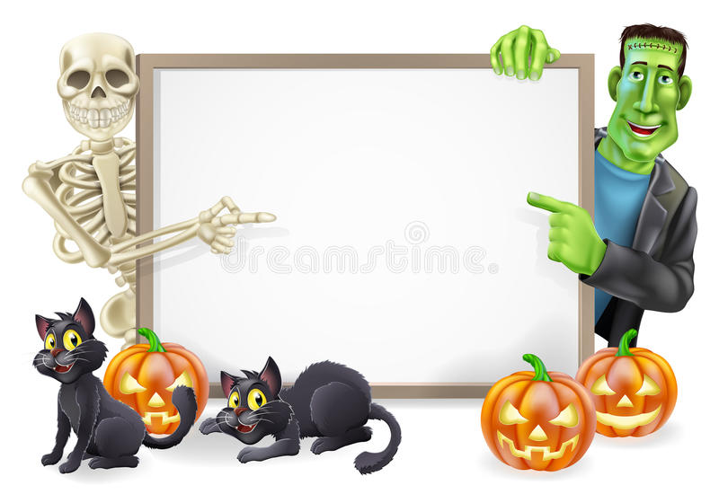 Halloween Sign with Skeleton and Frankenstein royalty free illustration