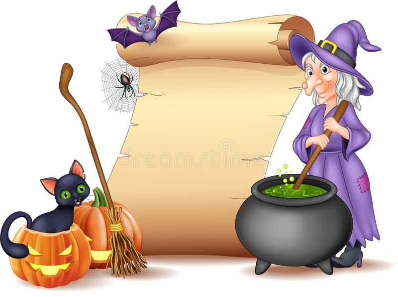 Halloween sign with witch stirring magic potion vector illustration