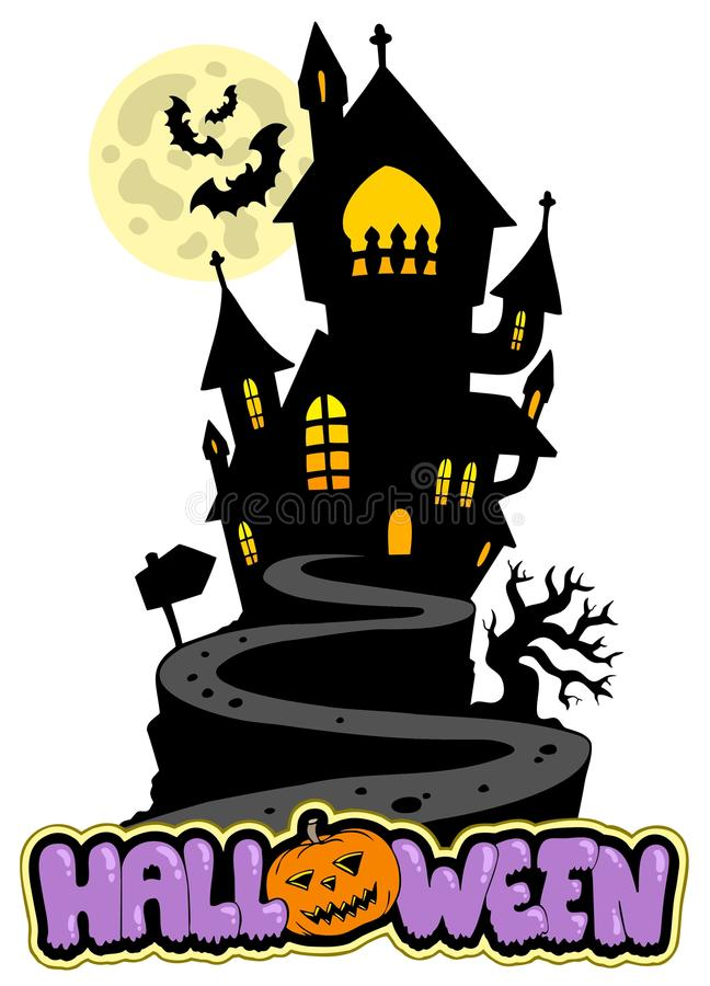 Free Halloween Sign With House On Hill Royalty Free Stock Photo - 15549105