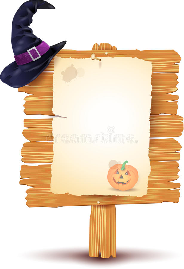 Halloween signboard. On white background, illustration stock illustration