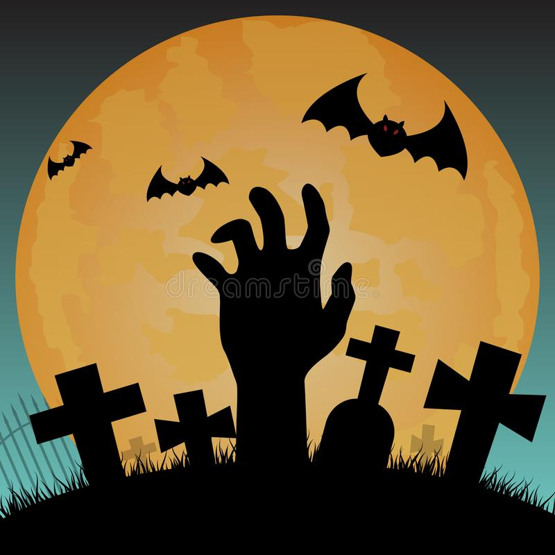 Halloween silhouette background, zombie hand op de begraafplaats in night sky background - Vector illustratie vector illustratie