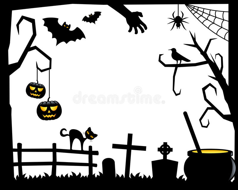 Download Halloween Silhouette Frame [2] Stock Vector - Illustration of illustration, lantern: 34368340