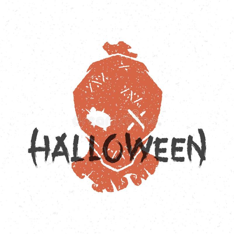 Halloween silhouette scarecrow head stock illustration