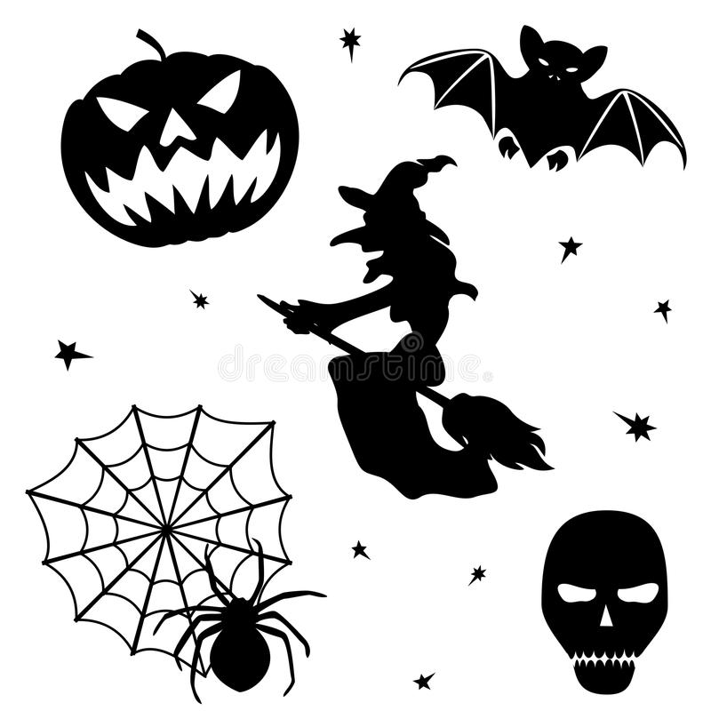 Download Halloween Silhouette Set On White Background Stock Vector - Image: 26823865