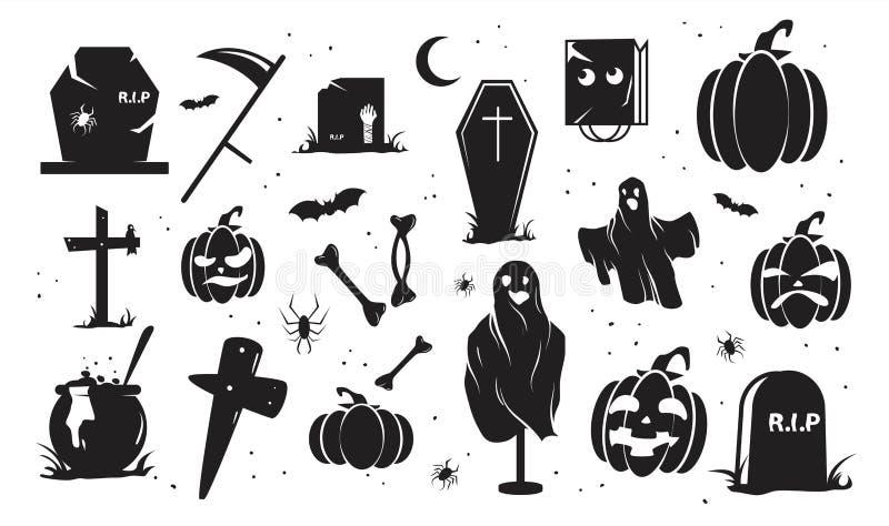 Halloween silhouetteert één kleurenreeks Duif als symbool van liefde, pease stock illustratie