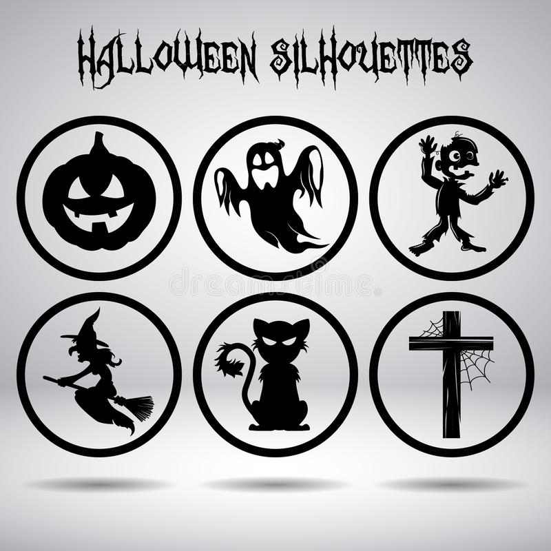 Halloween silhouettes in circle royalty free stock photo