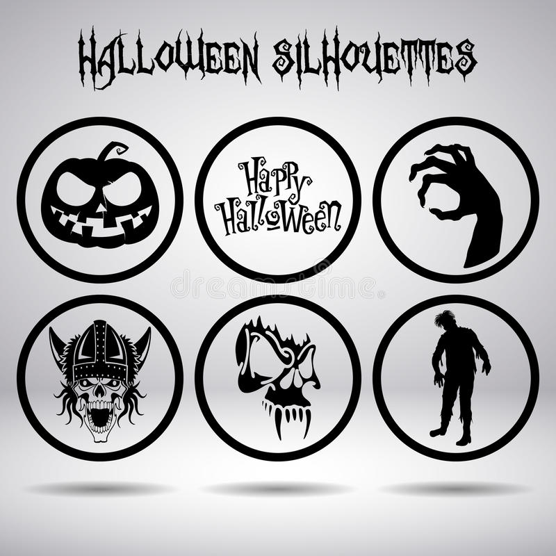 Halloween silhouettes in circle royalty free stock images