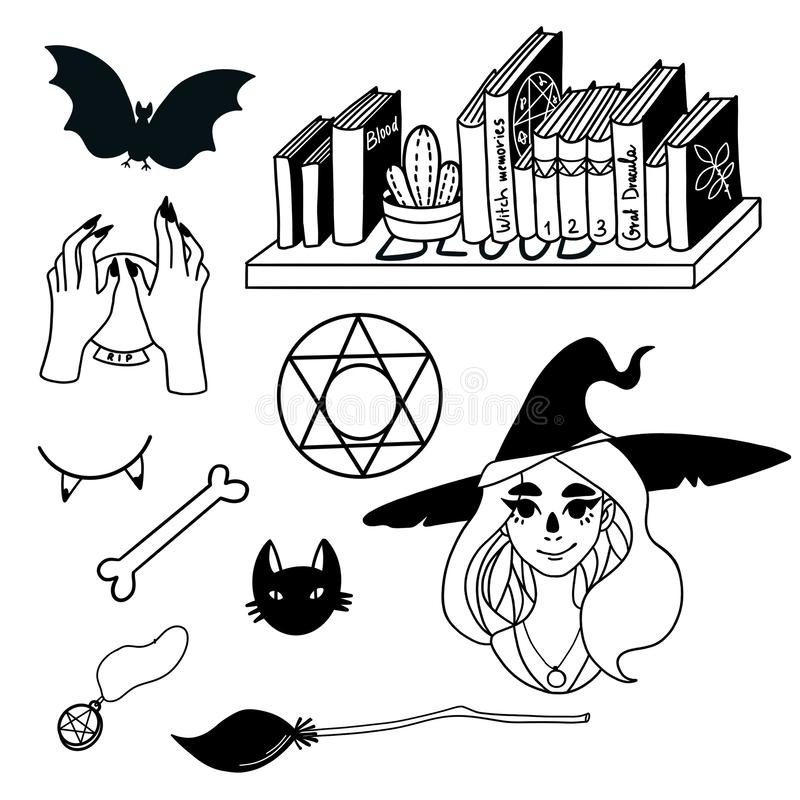 Halloween Silhouettes. Drawn by hand. Raster black and white illustration royalty free illustration