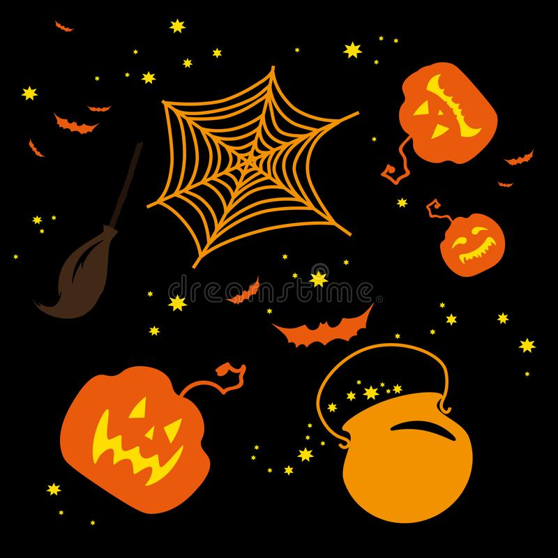 Halloween. Silhouettes of holiday heroes and objects. vector illustration