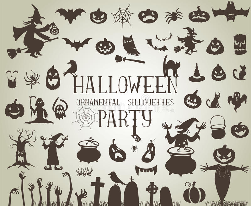 Halloween silhouettes royalty free illustration