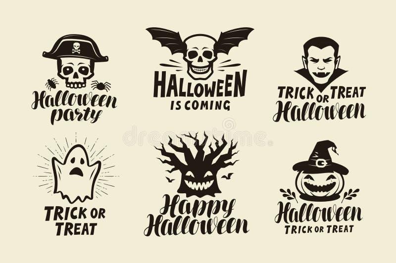 Halloween, sistema de etiquetas Símbolo del día de fiesta Ejemplo del vector de las letras libre illustration
