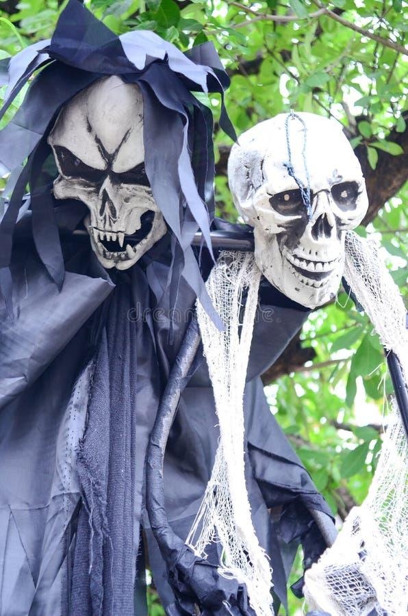 Halloween-Skelet het hangen van een boom royalty-vrije stock foto