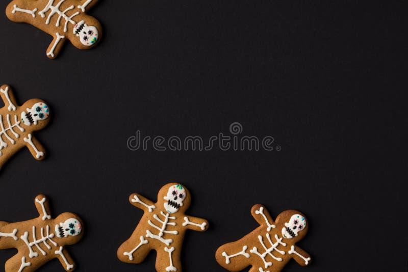 halloween skeleton cookies stock image