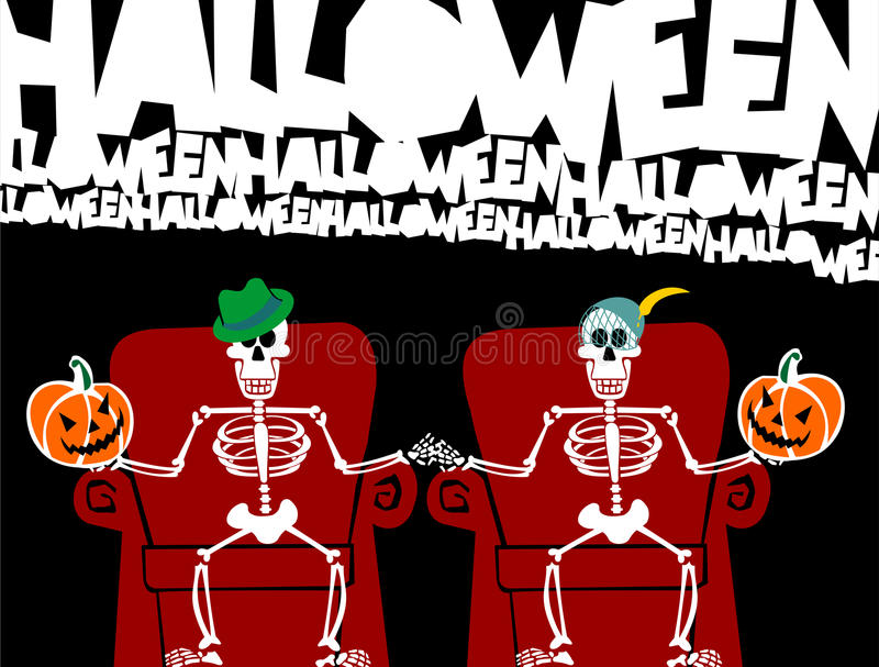 Halloween skeleton couple. Funny greeting card royalty free illustration