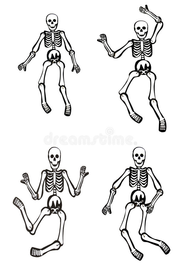 Halloween skeletons. Dancing and isolated royalty free stock image