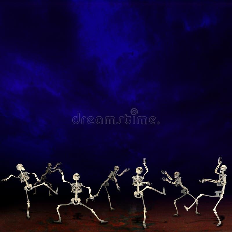 Halloween skeletons. Dark blue background. vector illustration