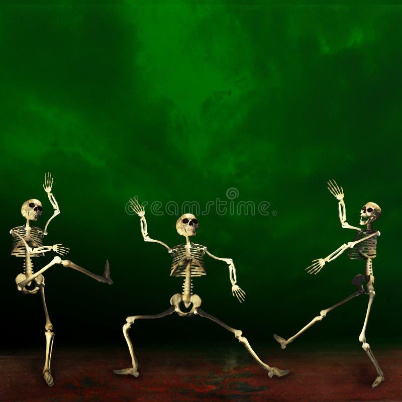 Halloween skeletons. Green and black background. stock illustration