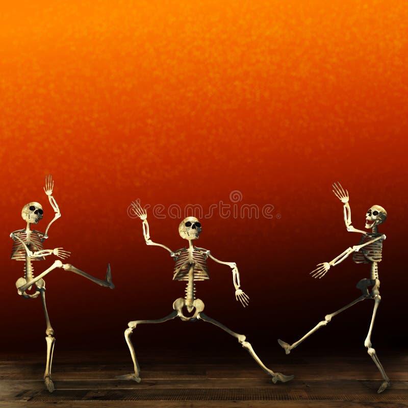 Halloween skeletons. Orange background. royalty free illustration