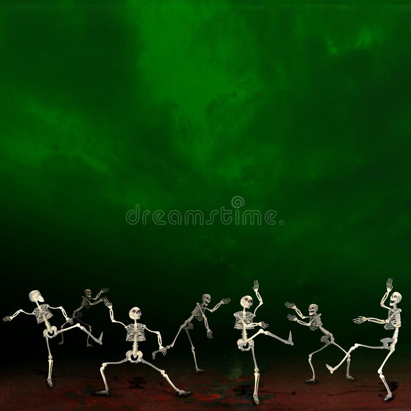 Halloween skeletons. Green background. royalty free illustration