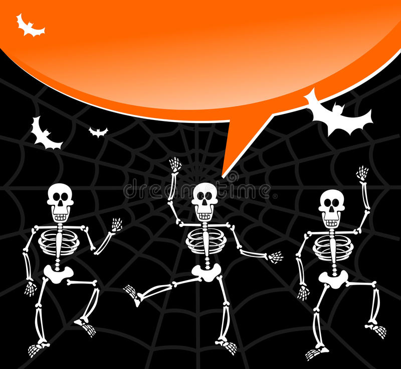 Download Halloween Skeletons With Spiderweb And Bubble Stock Vector - Image: 21396022