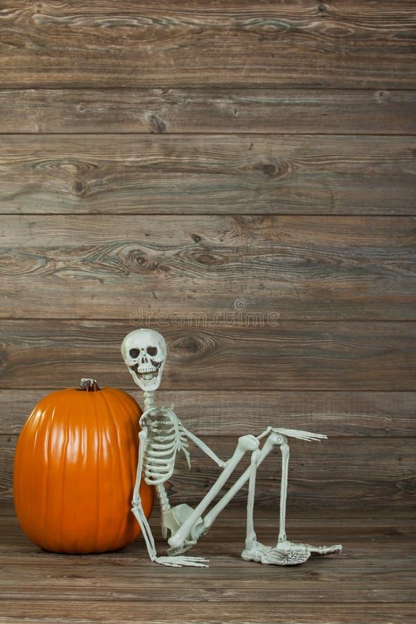Halloween-skeletzitting met pompoen stock foto