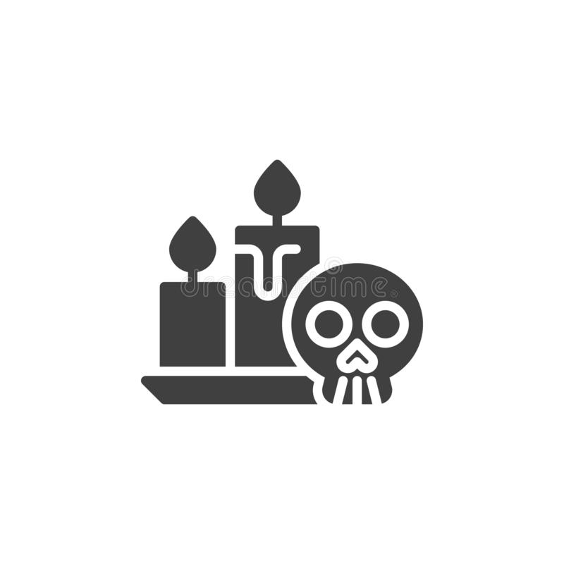 Halloween Skull and Candle vector icon. Filled flat sign for mobile concept and web design. Human skull with candles glyph icon. Symbol, logo illustration royalty free illustration